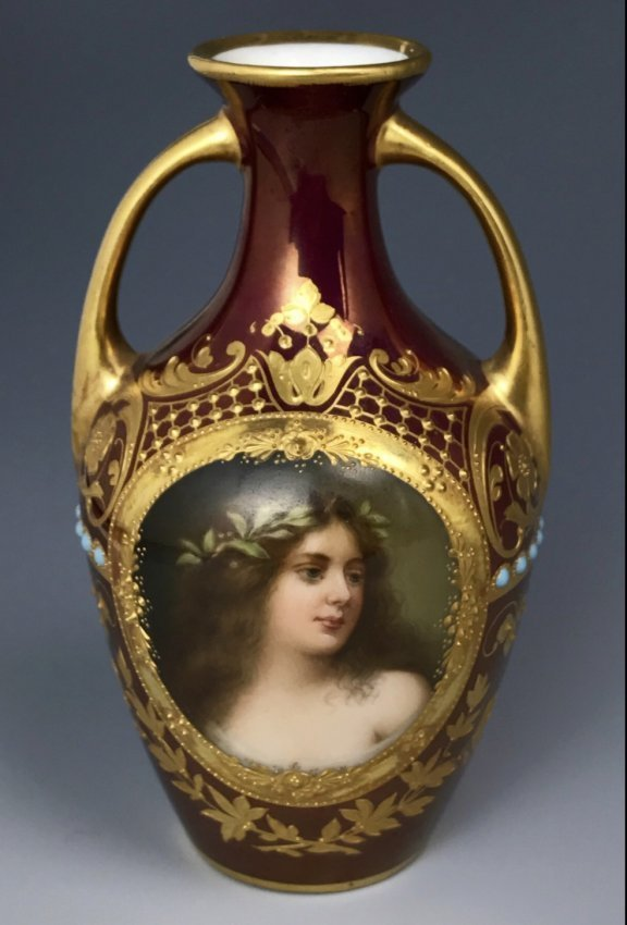 ROYAL VIENNA JEWELLED PORTRAIT VASE