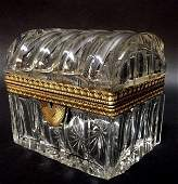 A SIGNED ORMOLU MOUNTED BACCARAT CRYSTAL BOX
