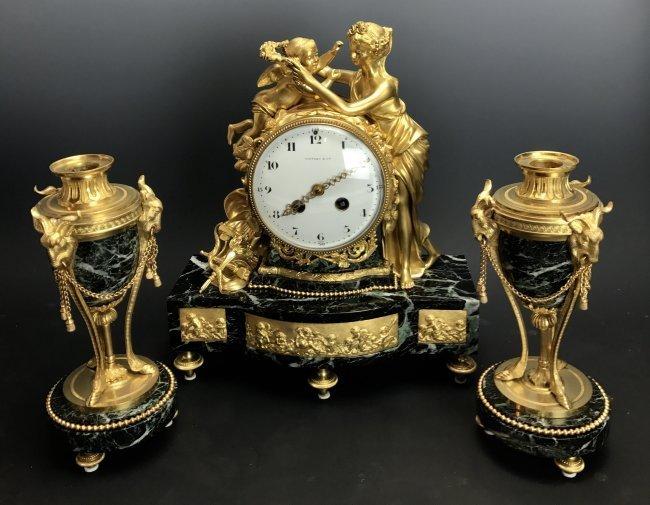 19TH C. TIFFANY & CO DORE BRONZE AND MARBLE CLOCK SET