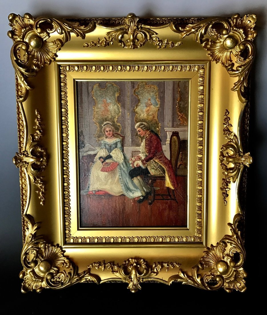 19TH C. EUROPEAN OIL PAINTING ON CANVAS