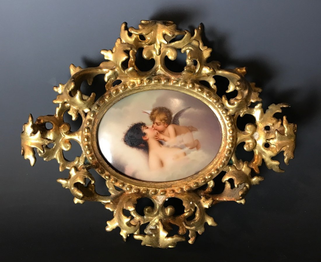 19TH C. GERMAN PORCELAIN PLAQUE WITH GILTWOOD FRAME