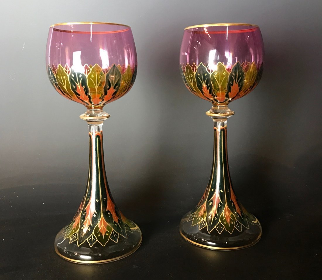 A PAIR OF 19TH C. ENAMELLED LOBMEYR GLASSES