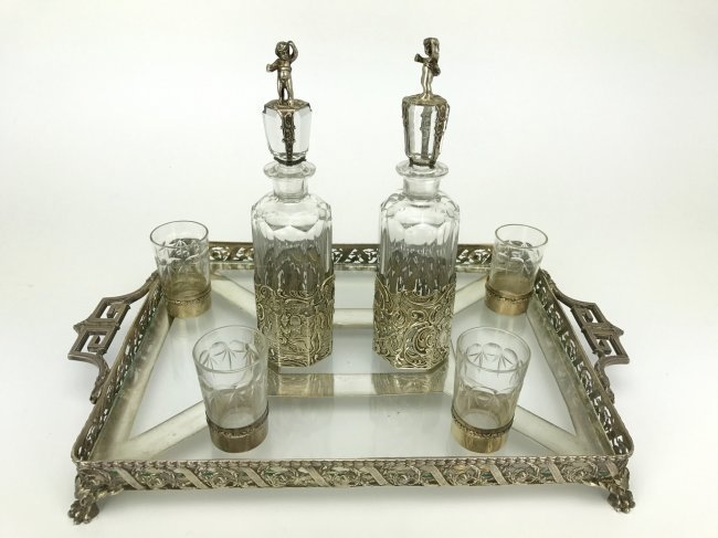 19TH C. GERMAN SILVER & CUT GLASS LIQUOR SET