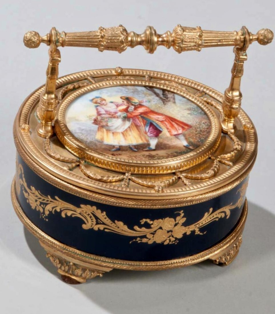 19TH C. ORMOLU MOUNTED SEVRES PORCELAIN BOX
