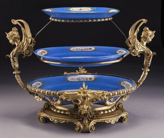 3 TIER DORE BRONZE AND SEVRES CENTERPIECE CIRCA 1900