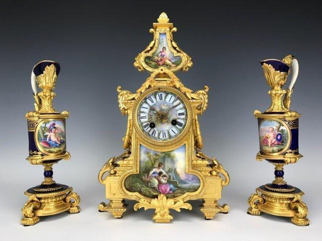 A MAGNIFICENT 19TH C. DORE BRONZE & SEVRES CLOCK SET