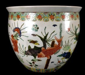19TH CENTURY CHINESE PORCELAIN FISH BOWL