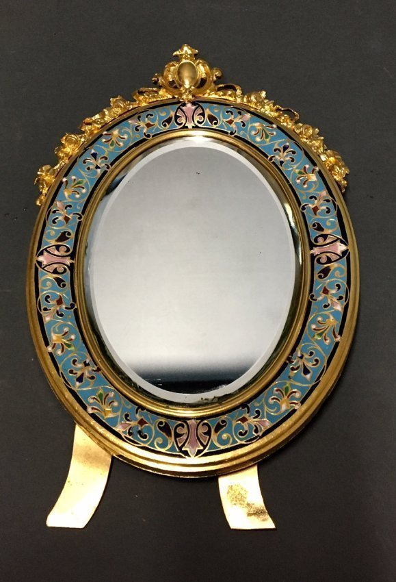19TH C. FRENCH CHAMPLEVE ENAMEL MIRROR