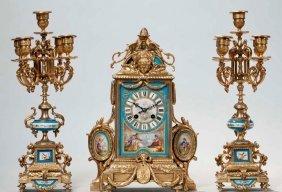 19TH C. ORMOLU MOUNTED SEVRES CLOCK SET