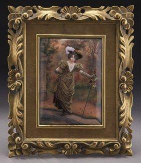 FRENCH LIMOGE ENAMEL PLAQUE CIRCA 1900
