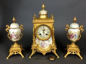 19TH CENTURY SEVRES AND DORE BRONZE CLOCK SET