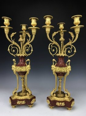 VERY FINE PAIR OF ROUGES MARBLE AND ORMOLU CANELABRA