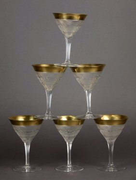 SET OF SIX MOSER SPLENDID GOLD CHAMPAGNE GLASSES