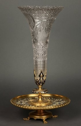LARGE 19TH CENTURY FRENCH CHAMPLEVE ENAMEL CENTERPIECE