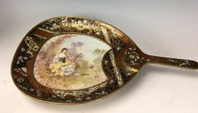 19TH C. CHAMPLEVE ENAMEL AND SEVRES PORCELAIN DISH
