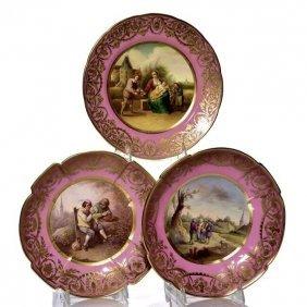3 ENGLISH PORCELAIN DISHES CIRCA 1880