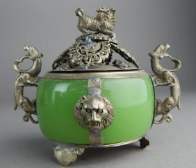CHINESE JADE AND CLAD SILVER JAR