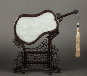 CHINESE WHITE JADE AND CARVED WOOD TABLE SCREEN