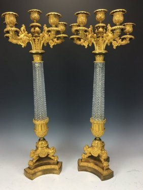 A PAIR OF EMPIRE DORE BRONZE AND BACCARAT CANDELABRA