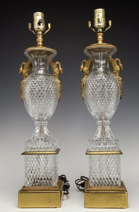 PAIR OF DORE BRONZE MOUNTED BACCARAT STYLE GLASS LAMPS