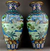 A LARGE PAIR OF ANTIQUE CHINESE CLOISONNE VASES