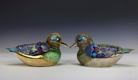 A PAIR OF CHINESE SILVER & ENAMEL DUCKS