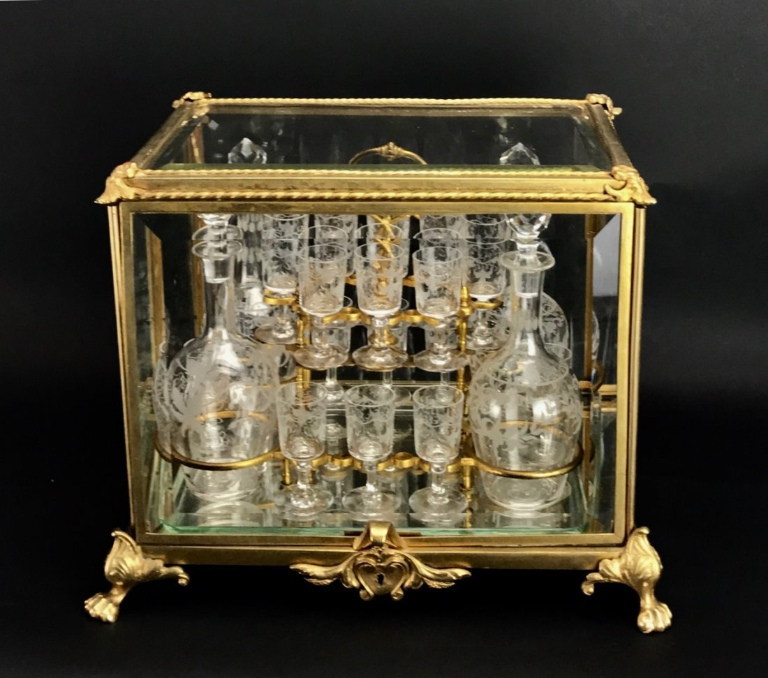 19TH C. DORE BRONZE & BACCARAT GLASS TANTALUS