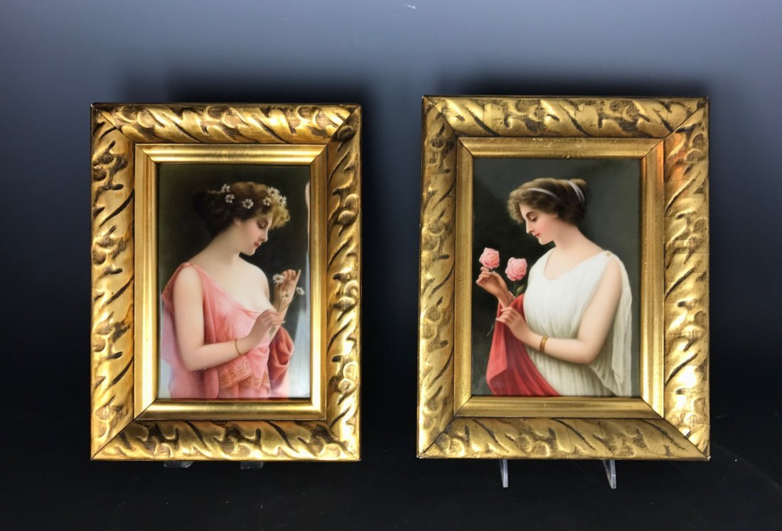 A PAIR OF BERLIN KPM PORCELAIN PLAQUES SIGNED WAGNER