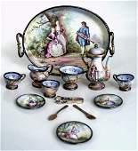 AN EXTENSIVE 19TH C. VIENNESE ENAMEL SILVER TEA SET