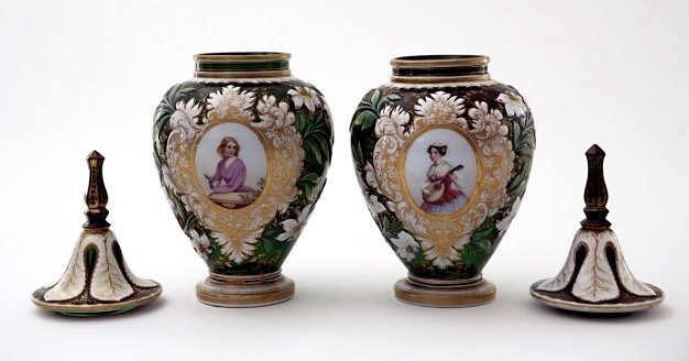 A PAIR OF MAGNIFICENT BOHEMIAN GLASS VASES