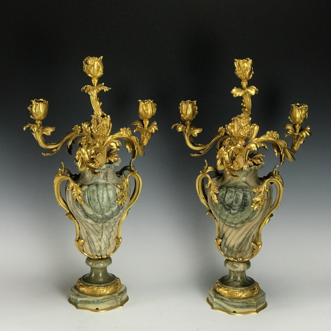 A MAGNIFICENT PAIR OF DORE BRONZE & MARBLE CANDELABRA
