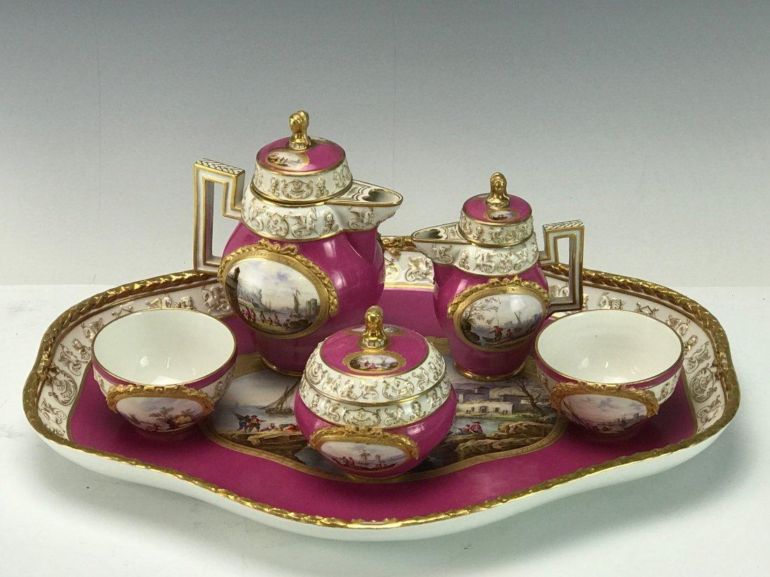 19TH C. MEISSEN TETE-A-TETE TEA SET
