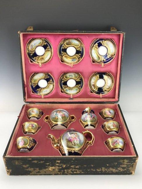 19TH C. SEVRES TEA SET IN ORIGINAL BOX