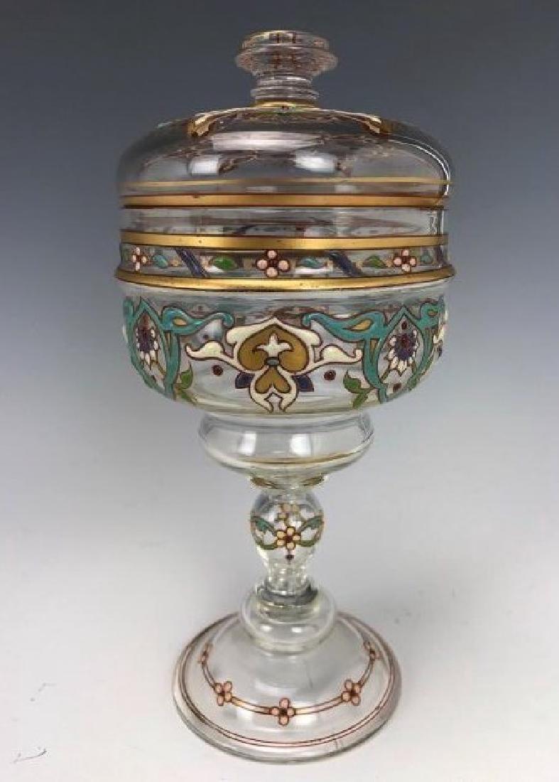 A 19TH C. ENAMELLED LOBMEYR GLASS POKAL