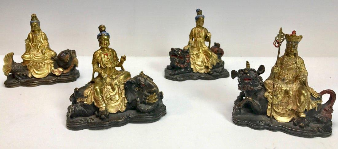 SET OF 4 CHINESE BRONZE SCHOLARS CIRCA 1850