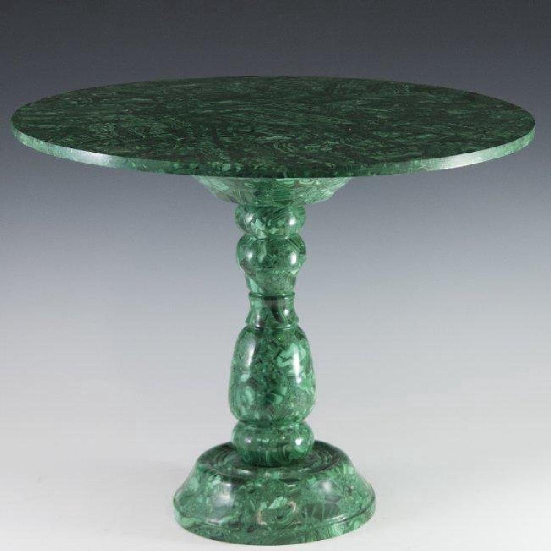 A MALACHITE SIDE TABLE