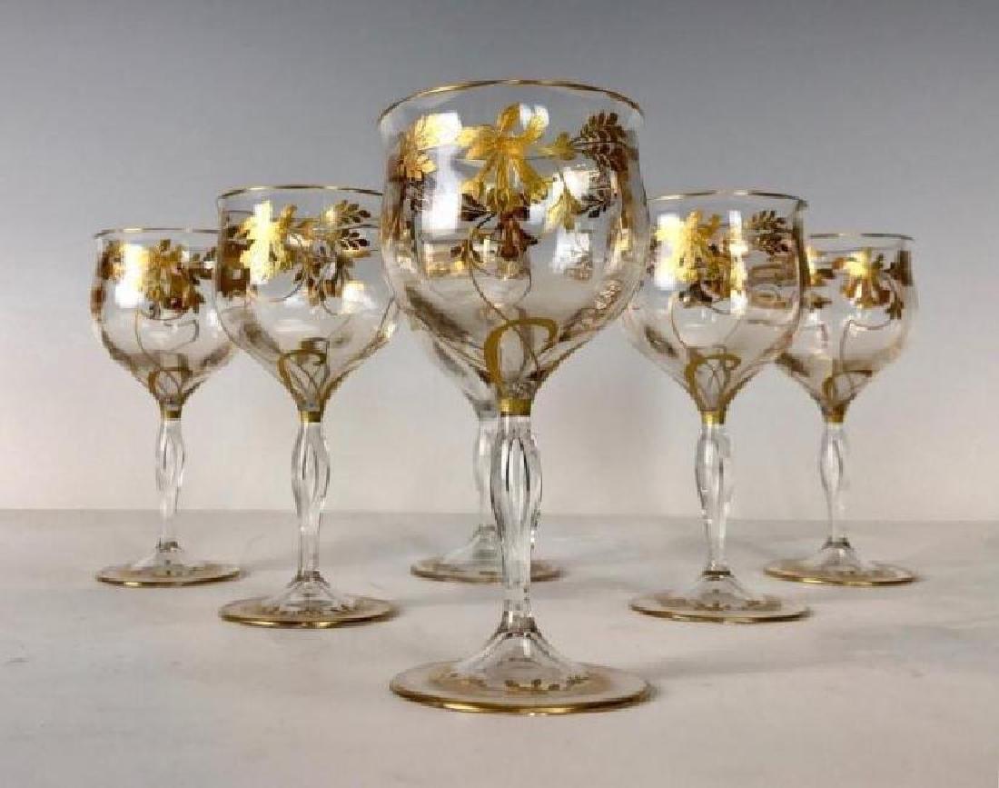 SET OF 6 MOSER GILT WINE GLASSES