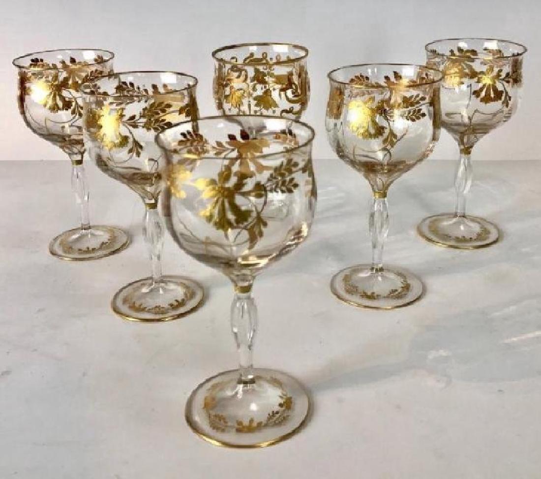 SET OF 6 MOSER GILT WINE GLASSES - 3