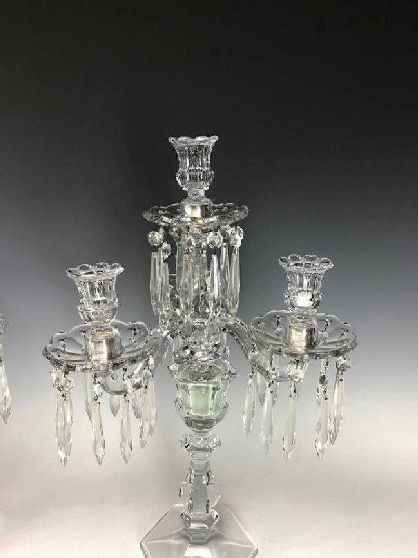 A PAIR OF BACCARAT STYLE CUT CRYSTAL CANDELARA - 2