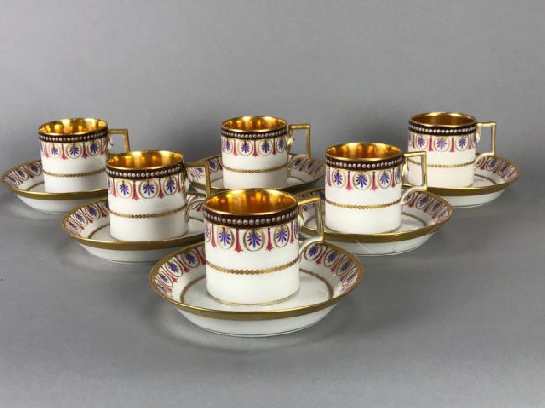 SET OF 6 ROYAL VIENNA CUP AND SAUCERS CIRCA 1880