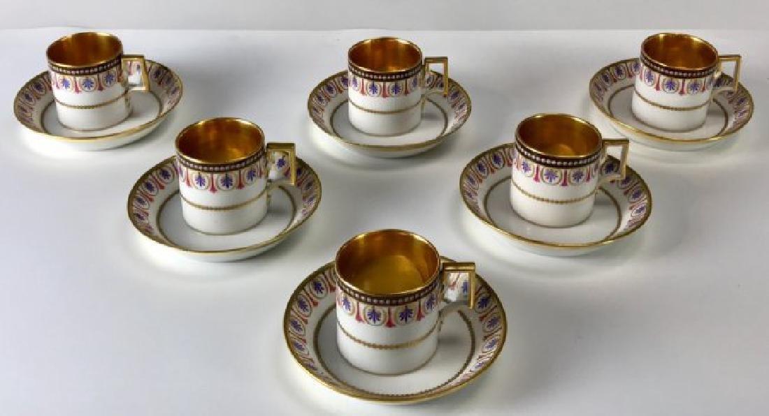 SET OF 6 ROYAL VIENNA CUP AND SAUCERS CIRCA 1880 - 2