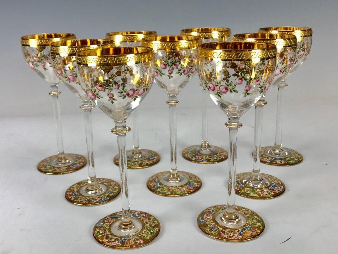 SET OF 9 ENAMELLED MOSER WINE GLASSES