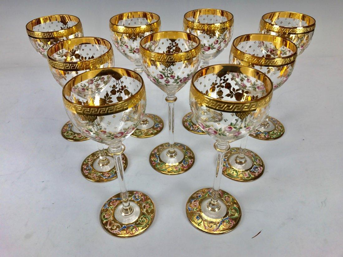 SET OF 9 ENAMELLED MOSER WINE GLASSES - 2
