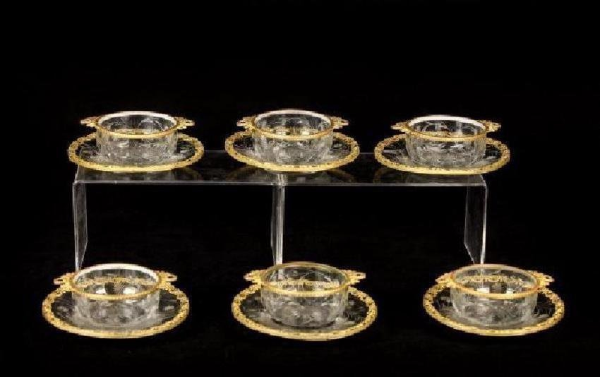 SET OF 6 BACCARAT GLASS AND DORE BRONZE FINGER BOWLS
