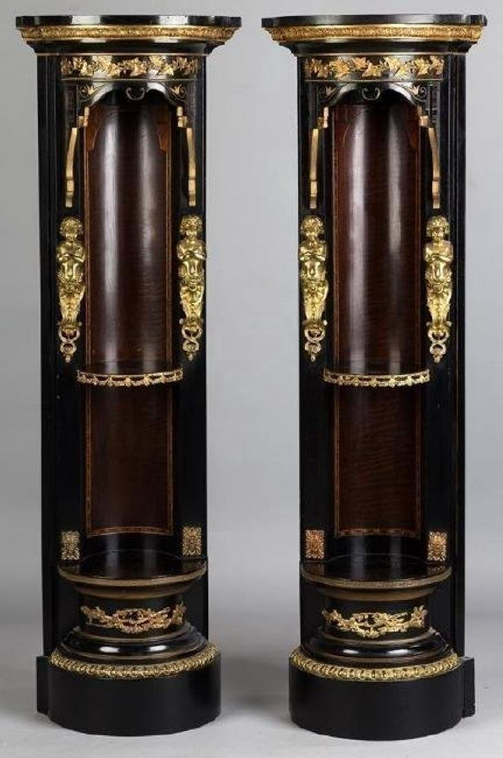 PAIR OF 19TH C. ORMOLU MOUNTED CORNER STANDS