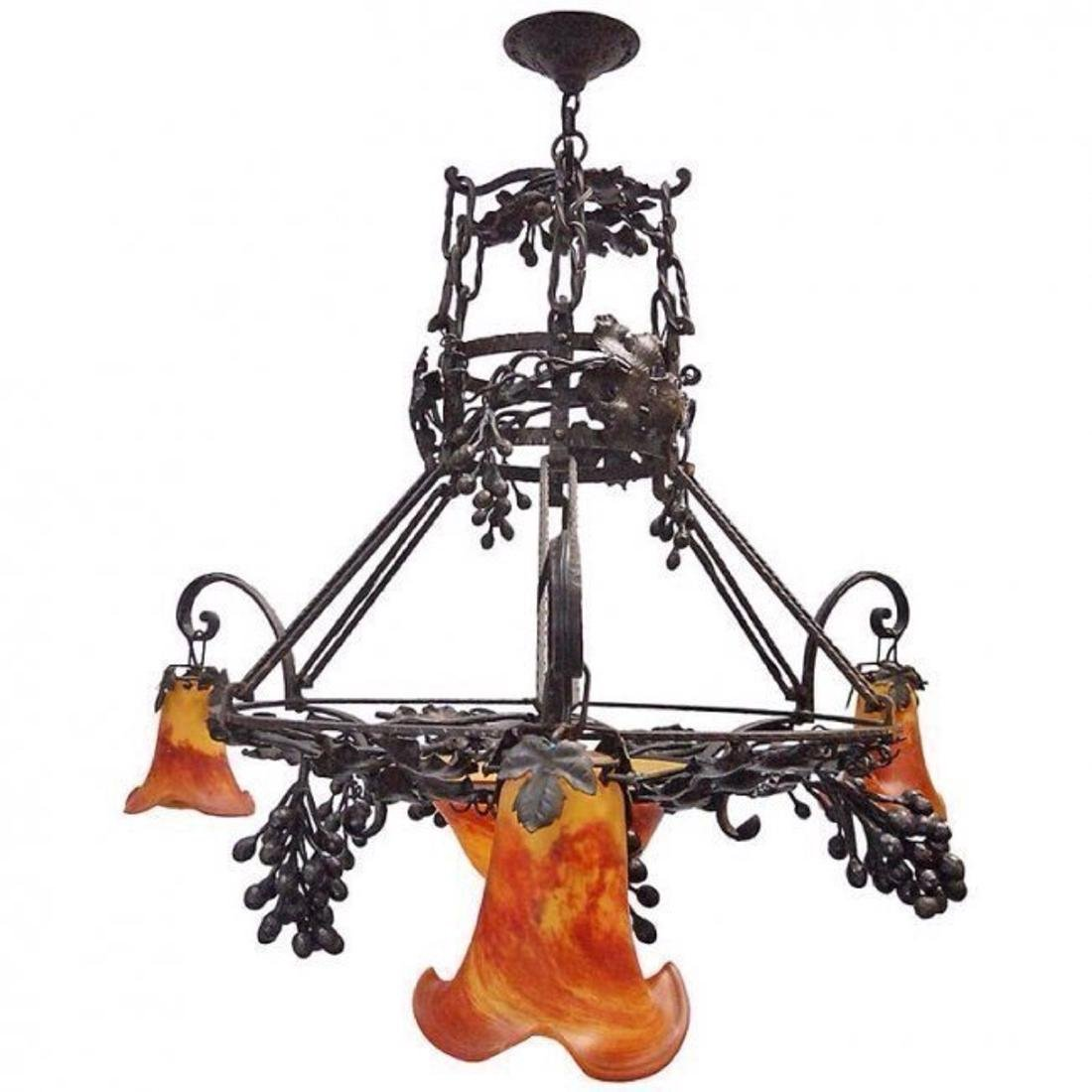 ART NOUVEAU FRENCH ART GLASS & WROUGHT IRON CHANDELIER