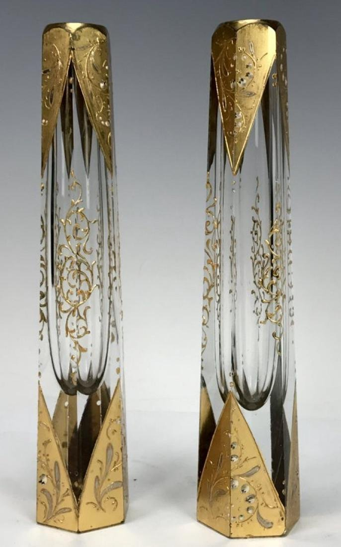 A PAIR OF 19TH C. ENAMELLED MOSER BUD VASES