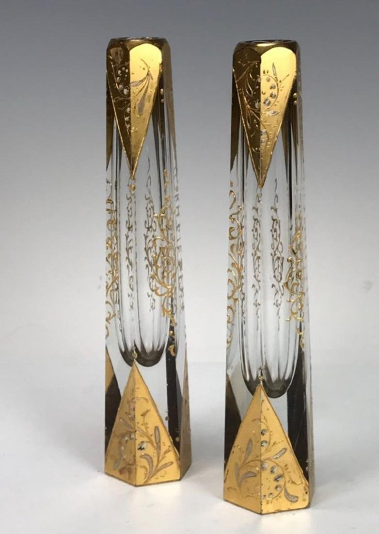 A PAIR OF 19TH C. ENAMELLED MOSER BUD VASES - 2