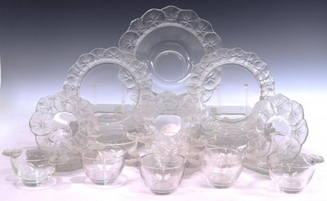 LALIQUE FRANCE HONFLEUR ART CRYSTAL TABLEWARE