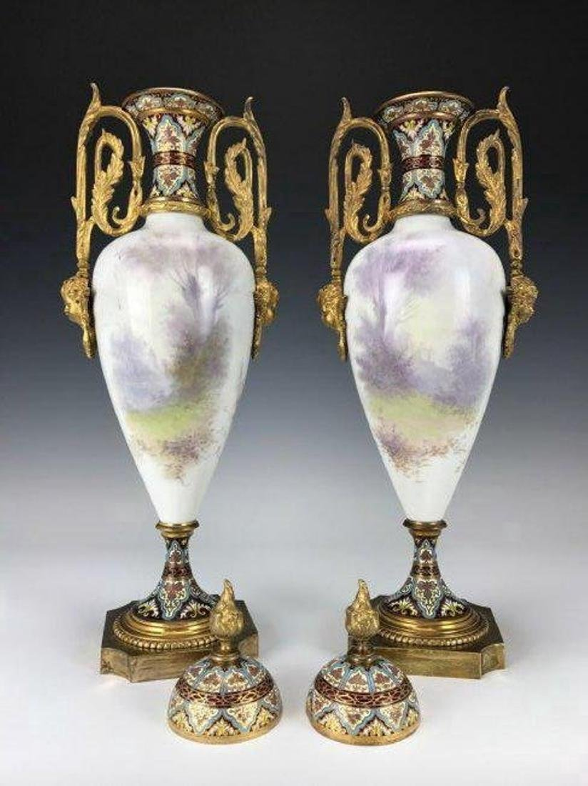 A LARGE PAIR OF FRENCH CHAMPLEVE ENAMEL & SEVRES VASES - 2